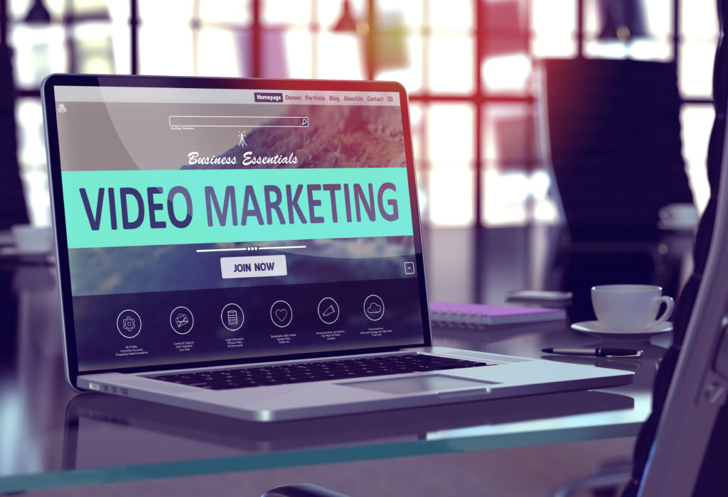 Video Marketing Concept on Laptop Screen